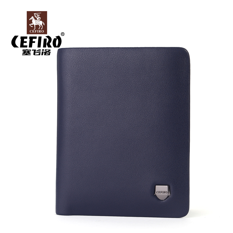 Cefiro leather wallet men wallet short paragraph korean version of the thin first layer of leather business men wallet genuine