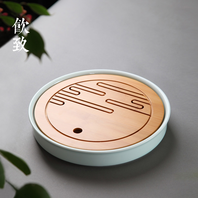 Ceramic bamboo tea tray round home caused by drinking water storage small gong fu tea saucer small tea tray tea sea tea sets office
