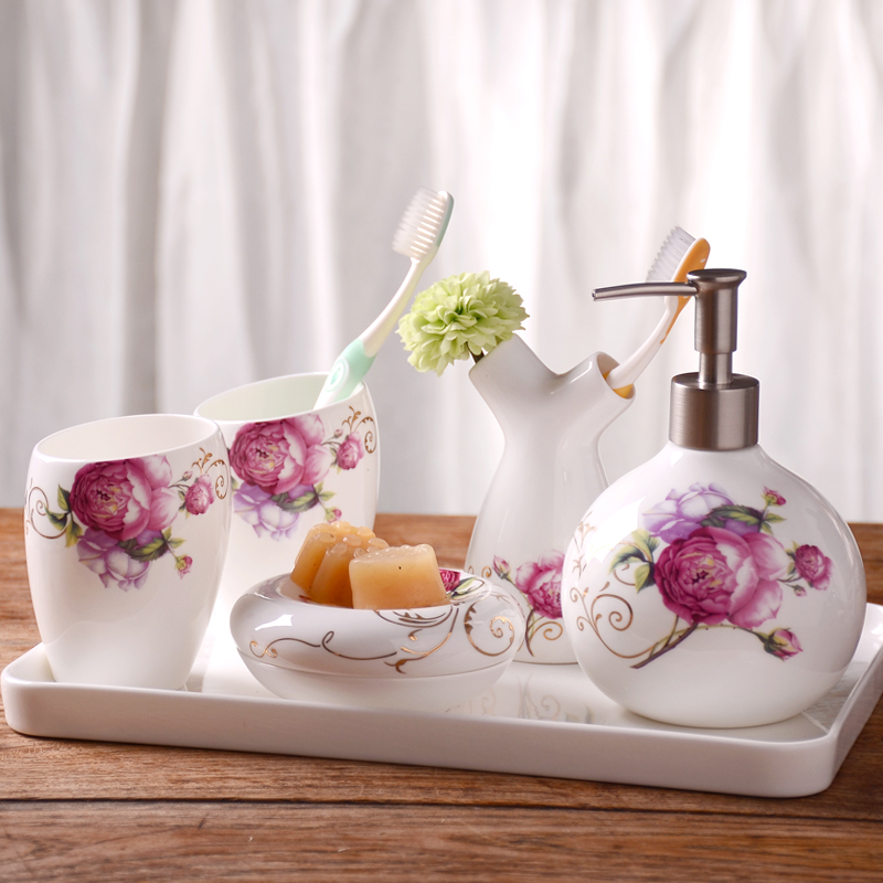Ceramic bathroom wujiantao european toiletries kit mouthwash brushing cup wash suit wedding wedding gifts