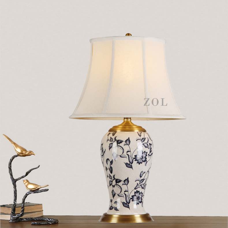 Ceramic table lamp bedroom bedside lamp wedding table lamp new chinese study living room painted american retro decorative lamp
