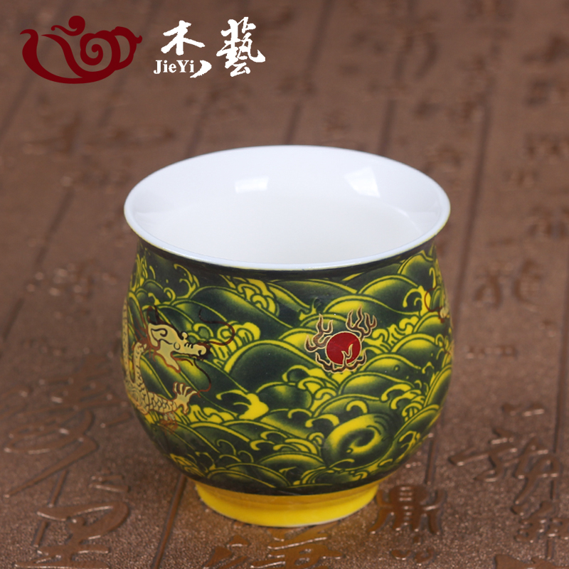 Ceramic tea cup kung fu tea cup jingdezhen blue and white bone china tea cup of tea cup tea cup double insulated
