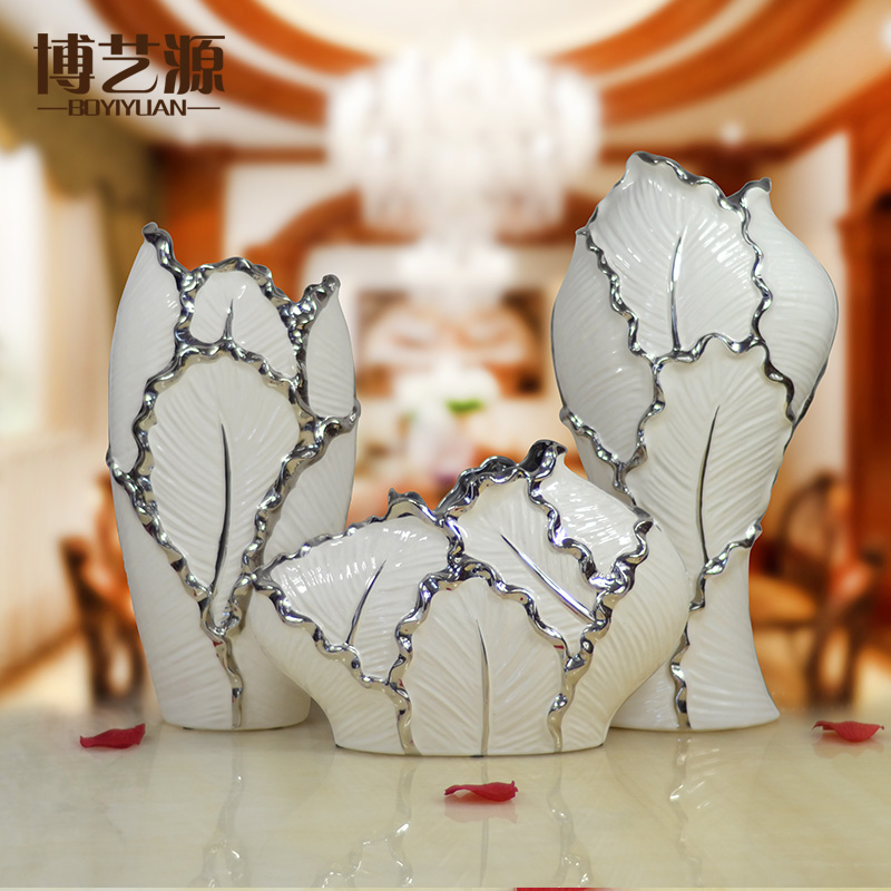 Ceramics modern minimalist living room large vase three sets of home decorations ornaments creative white flower furnishings