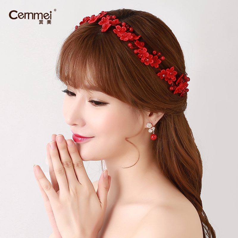 Cernmei/beauty yarn korean headdress hair accessories bridal headdress red cheongsam dress wedding jewelry head flower hairpin