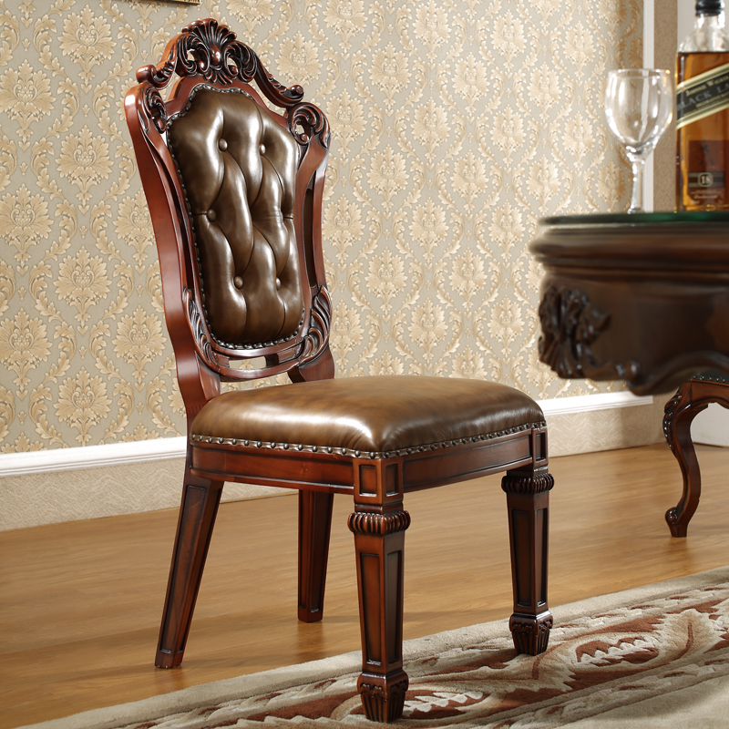 Ceva that li villa european golden teak dining chairs american luxury sided carved leather chair brand filete
