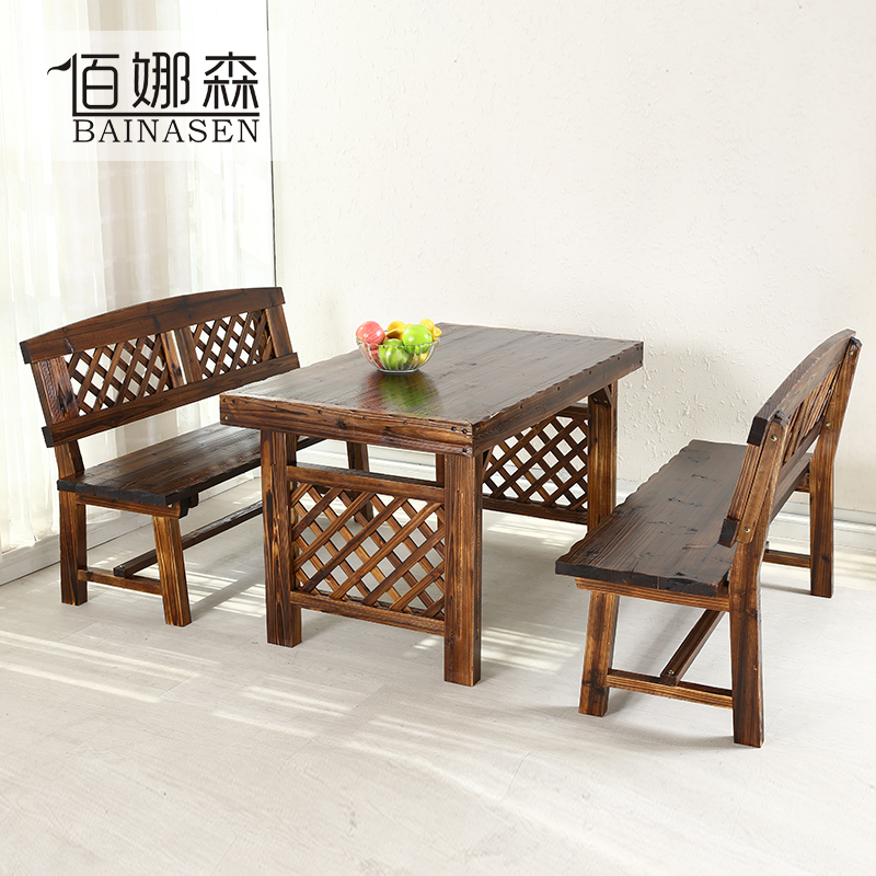 Charcoal carbonized wood preservative outdoor tables and chairs combination courtyard garden table and chairs leisure positronic taiwan sun room tables and chairs kit