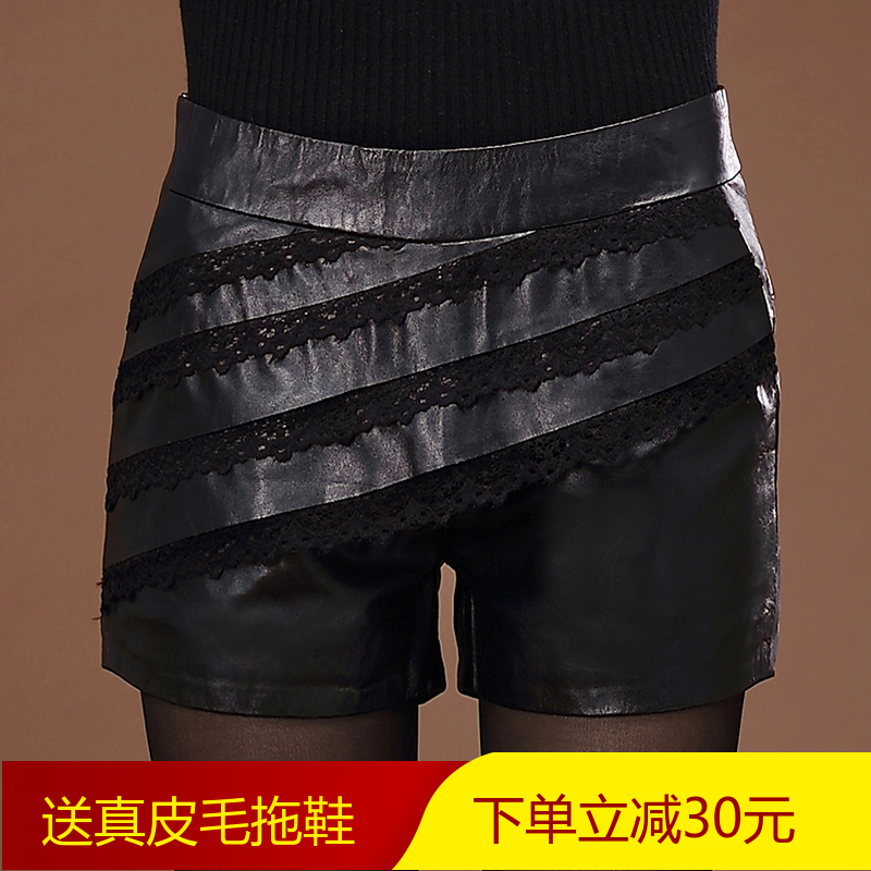 Charles adams grazing new haining leather pants leather shorts female sheep skin leather lace shorts boots pants slim leather belts