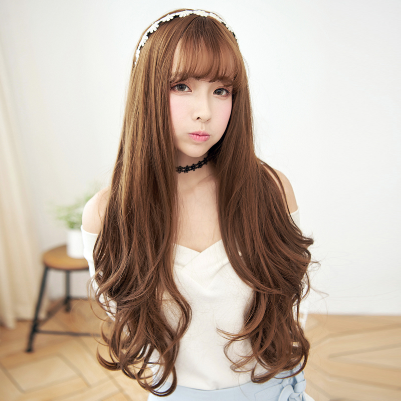 Charm丝黛children soft level of long curly hair wig big wave of female korean air liu sea natural and realistic wig