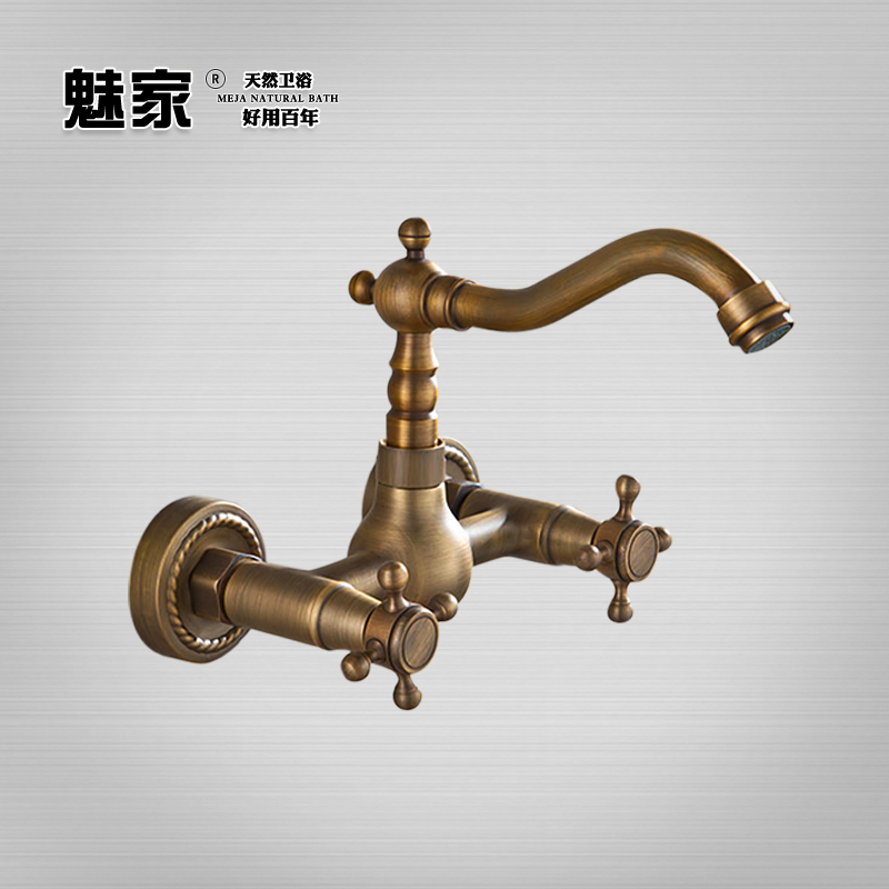 Charm home retro antique copper basin faucet hot and cold taps into the wall wall mounted faucet hot and cold taps european