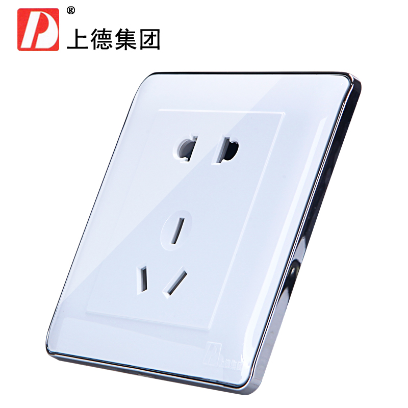 Chdele plug 86 type wall switch power socket panel socket to plug five holes 5 hole silver edge