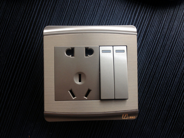 Chdele two open double control wall switch with five holes to plug socket with switch 2 switch champagne