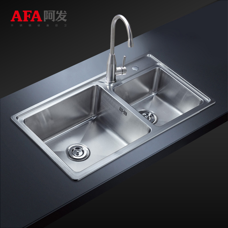 Cheap kitchen sink fat combo dual slot vegetables basin thick 304 stainless steel kitchen hand drawing 8848