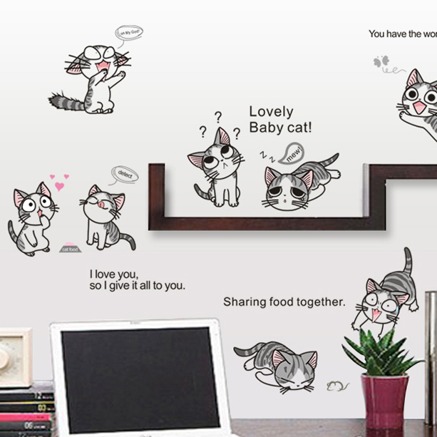 Cheese cat waistline entrance hallway living room bedroom bedside cute adorable cartoon cat wall stickers can be affixed anywhere