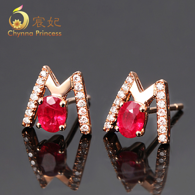 Chen fei jewelry 0.65ct 73ct natural colored pigeon blood ruby earrings k rose gold earrings multicolored nail customization