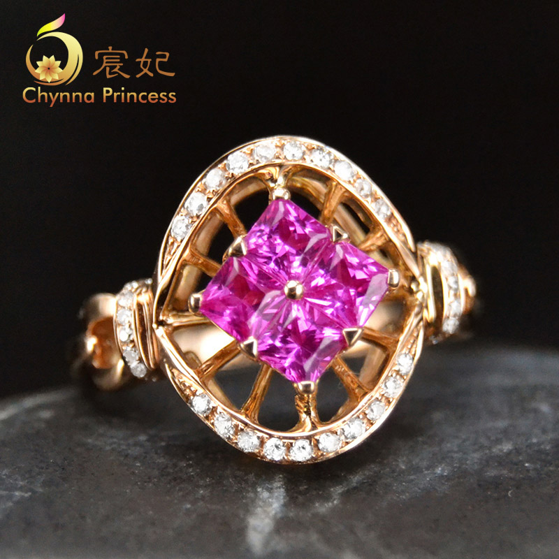 Chen fei jewelry 0.65ct natural colored gemstone rings rose 89ct k rose gold diamond multicolored custom