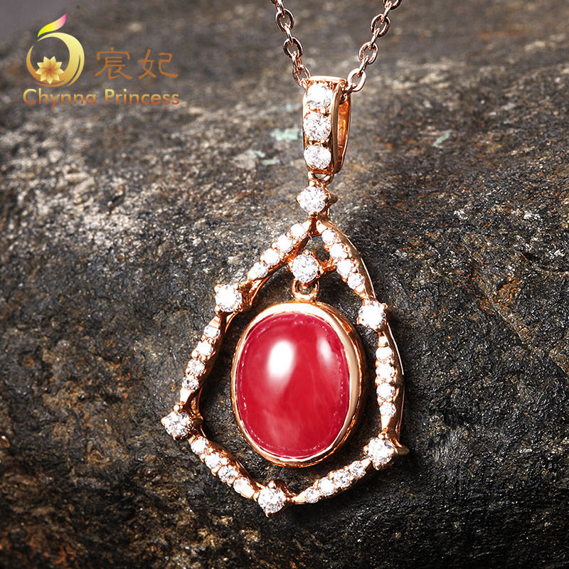 Chen fei jewelry 97ct cm natural color perfect k rose gold ruby pendant necklace multicolored custom