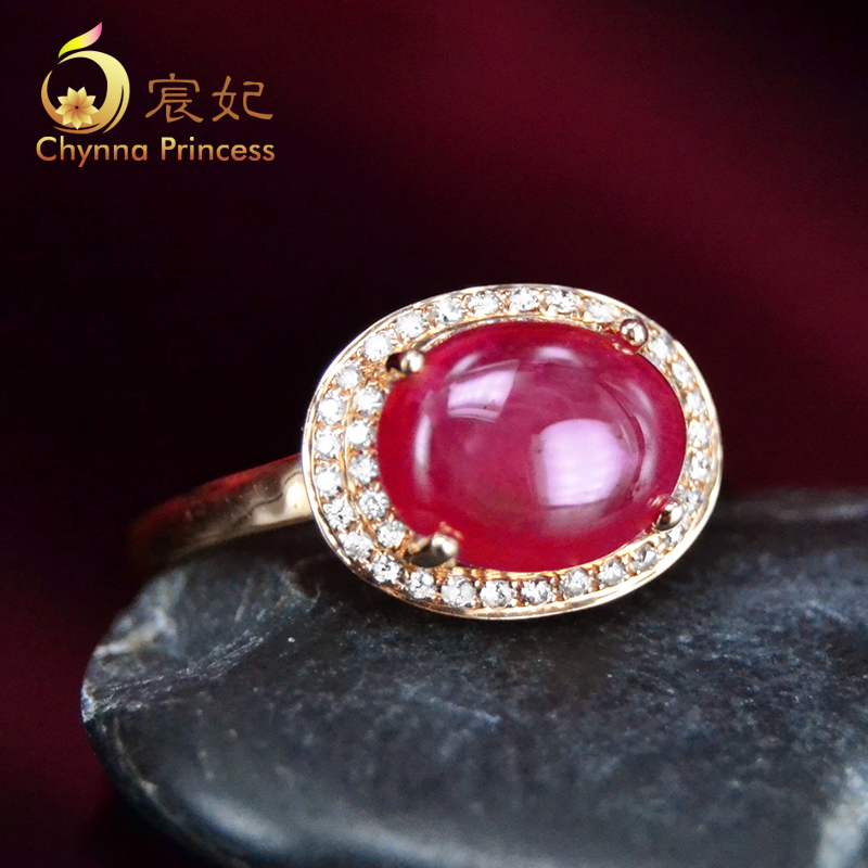 Chen fei jewelry cecectomized 77ct natural color perfect k rose gold diamond ruby ring multicolored custom