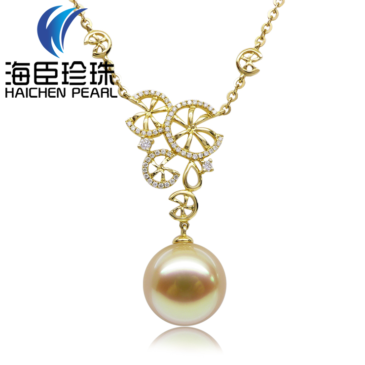 Chen sea pearl 13.07ct stunning gold south sea pearl pendant natural seawater pearl 5MM k gold necklace fine