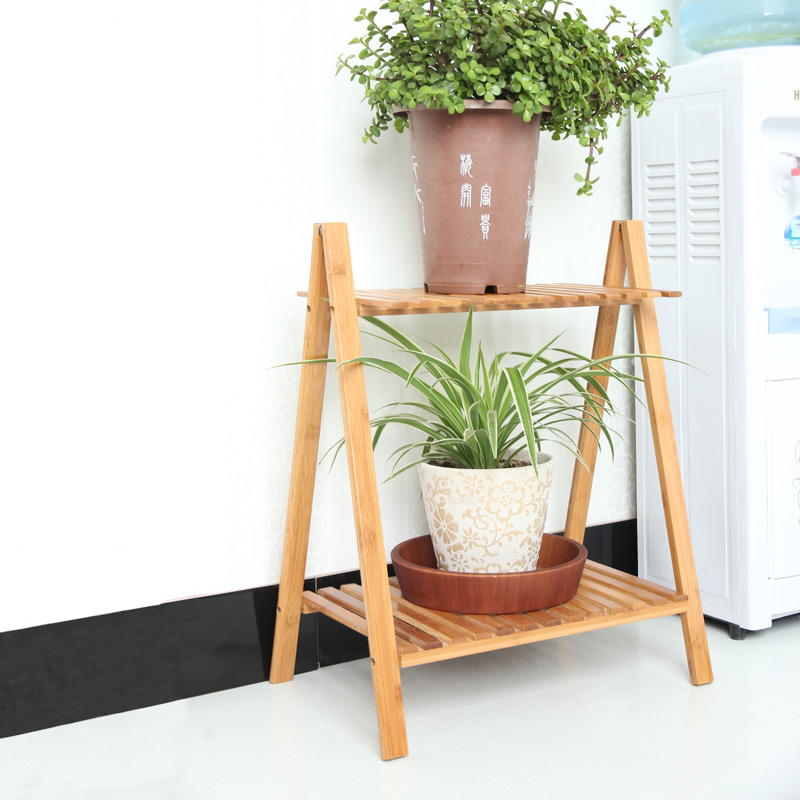 Chen yi gifted bamboo wood storage multilayer spend a few flower pots rack indoor balcony living room shelf rack specials