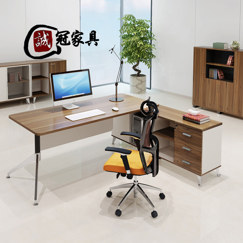 Cheng guan office furniture minimalist modern new main tube chairs office furniture fashion plate boss desk paint