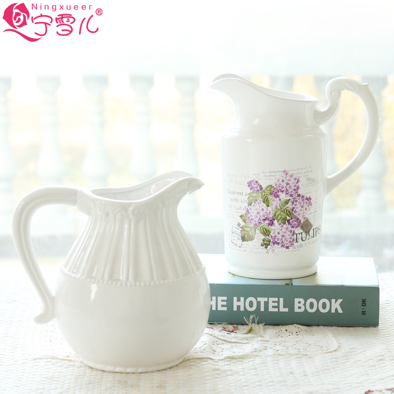 Cher rather idyllic white ceramic milk pot vase flower containers european retro desktop simulation flower decoration flower holder