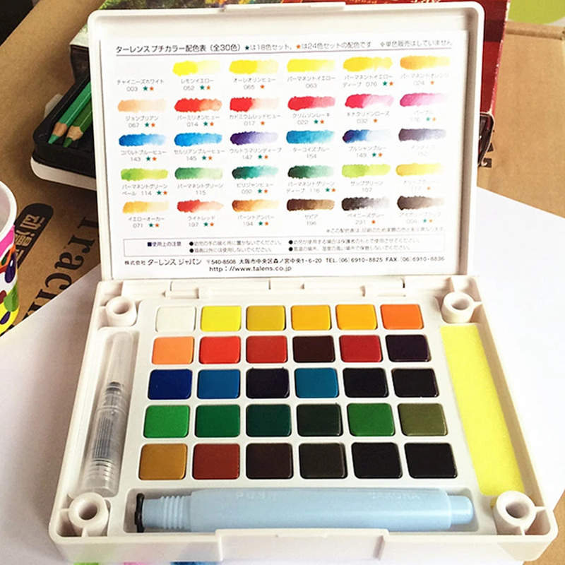 Cherry terrence 30 solid color watercolor 24 color portable watercolor kit 18 color watercolor painting hardcover