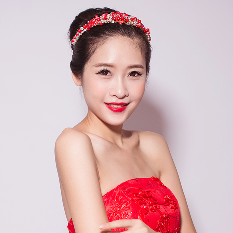 Chi meng red dress bridal hair accessories wedding crown jewelry bridal headdress korean wedding styling accessories