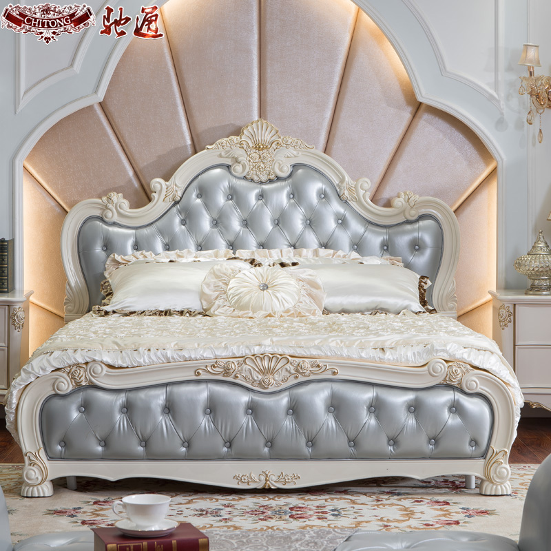 Chi tong furniture continental bed 1.8 m double neoclassical furniture wood bed luxury french bed leather bed marriage bed