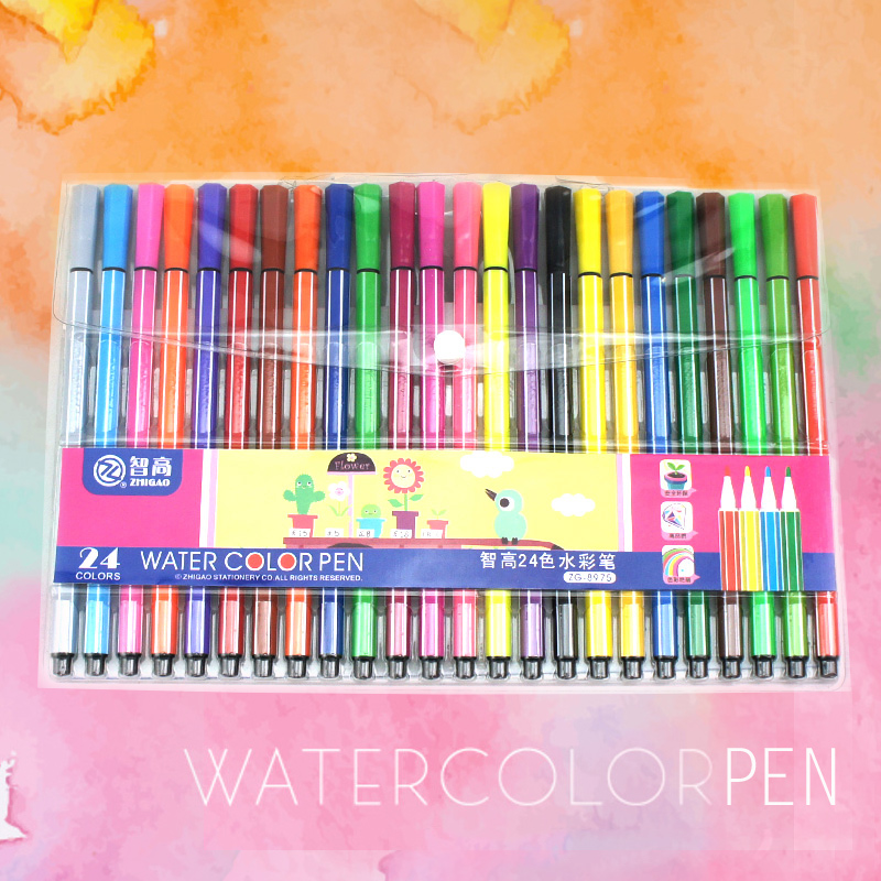 Chicco kk watercolor pen set 24 color painted children music children nontoxic washable color pen painting brush