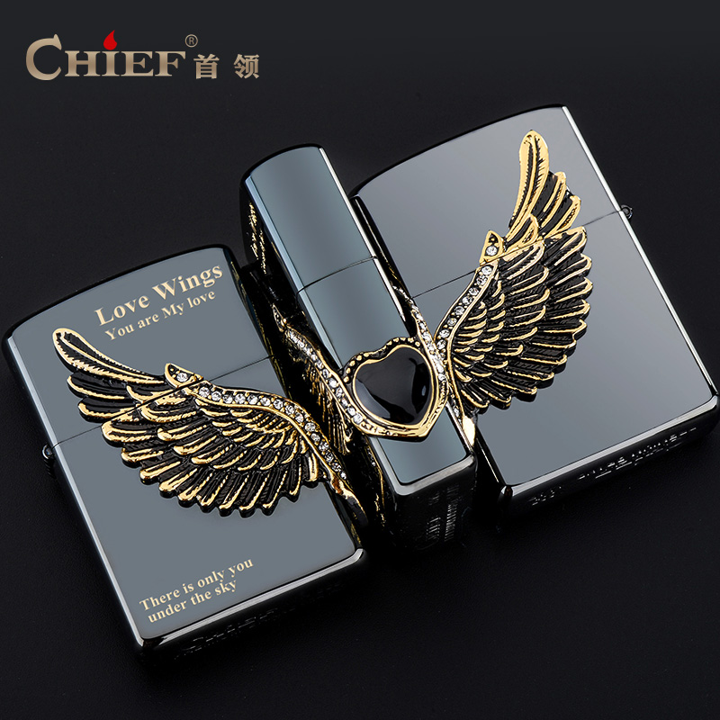 Chief leader angel wings thin windproof lighter kerosene lighter creative personality retro copper cigarette lighter