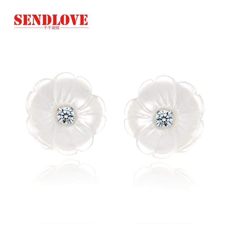 Chien que silver s925 silver earrings female korean fashion earrings new shell earrings silver jewelry to send his girlfriend