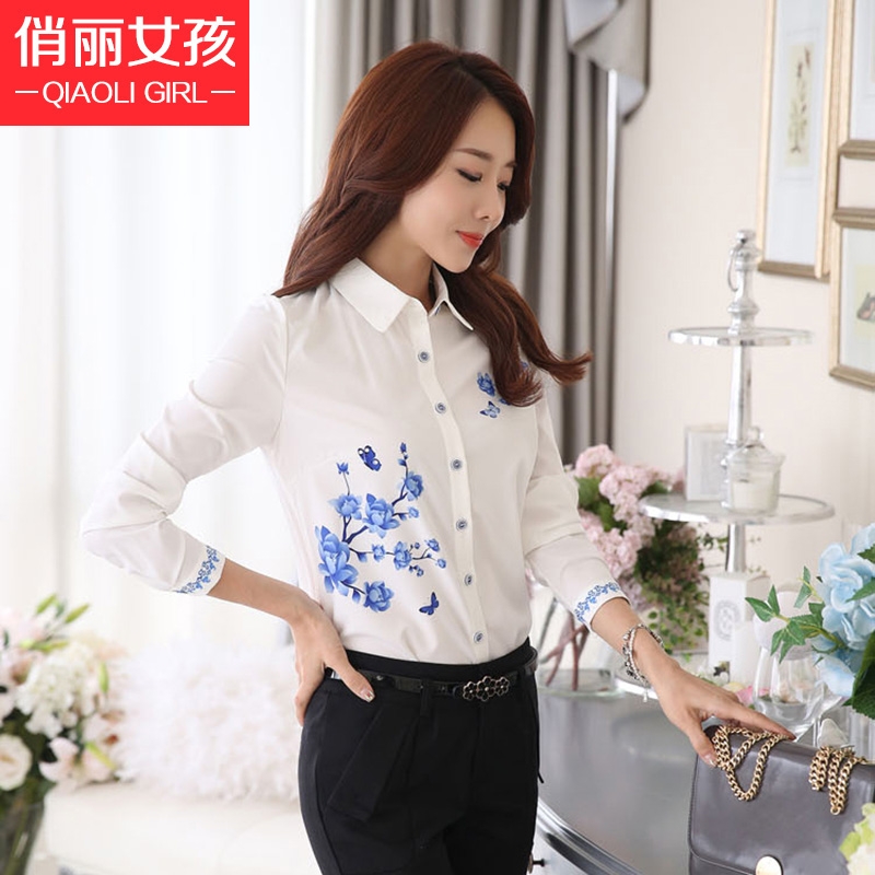 Chiffon shirt female 2016 spring new female plus velvet warm bottoming shirt big yards long sleeve shirt fashion shirt printing