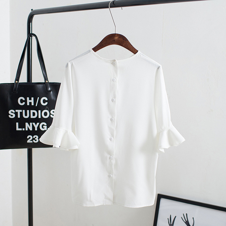 Chiffon shirt female 2016 summer new white horn sleeve chiffon shirt female chiffon shirt women short sleeve shirt bottoming
