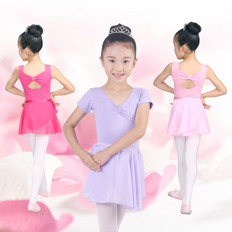 Children chiffon skirts + dance practice gymnastics body siamese clothes clothing spring and autumn girls bow back