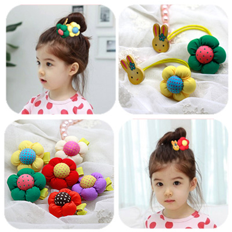 Children hairpin hair rope double bunny pumpkin flower cute tie tousheng headdress hair accessories hair band rubber band accessories