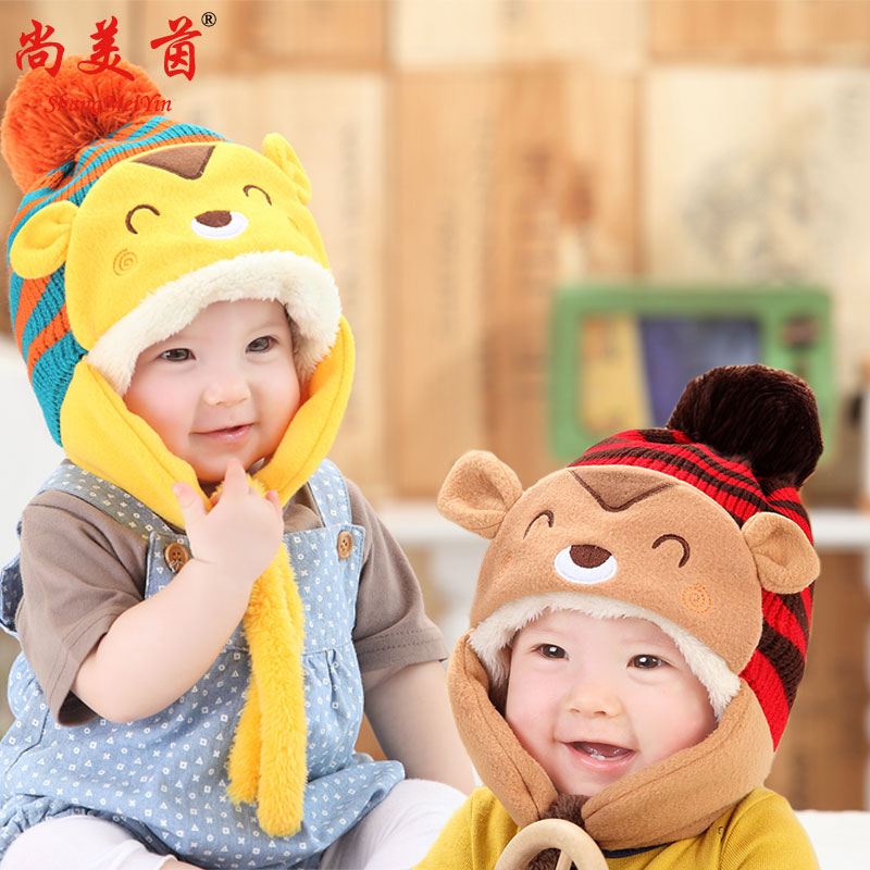 Children newborn baby baby wool hat knitted hat warm hat autumn and winter plus thick velvet korean version of the cartoon hat