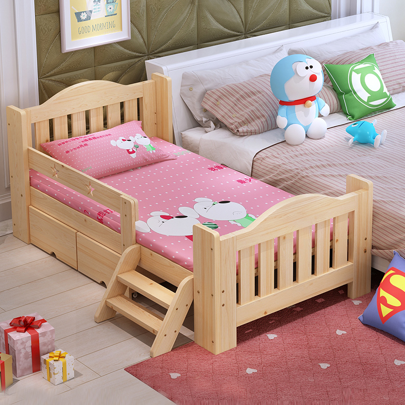Children's bed with guardrail children bed wood bed children's beds kids bed widening twin bed fence on three sides bed stitching