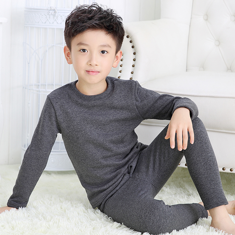 Children's clothing for men and children new autumn and winter thermal underwear plus thick velvet suit girls baby clothes teenagers