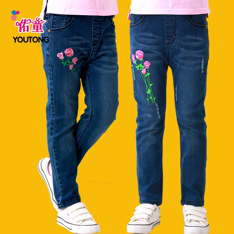 Children's clothing girls jeans trousers spring models big boy pants children's casual pants autumn paragraph 20 16 girls jeans