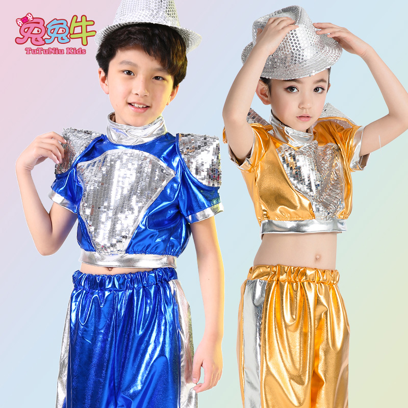 Children's costumes performance clothing girls sequined hip-hop jazz dance costumes children costumes performance clothing boys