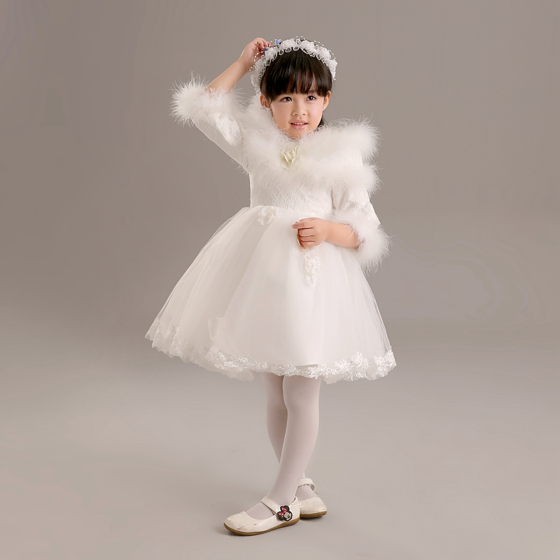 Children's dresses flower girl dresses princess dress jumpsuit childrenwear marriage gauze tutu skirt girls dress winter women long sleeve autumn white