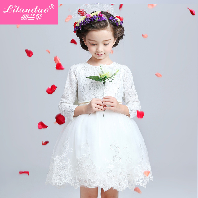 23660ad425 Get Quotations · Children s dresses flower girl dresses princess wedding  dress girls fall and winter long sleeve lace dress