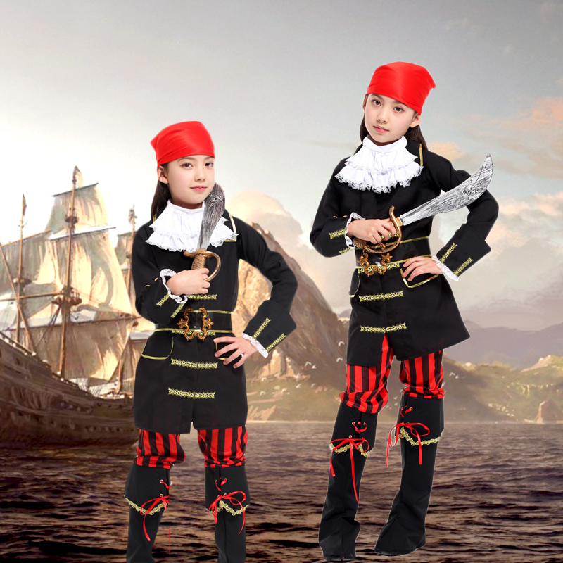 Children's halloween costume female pirate costume cosplay girls princess dress costume show performance apparel