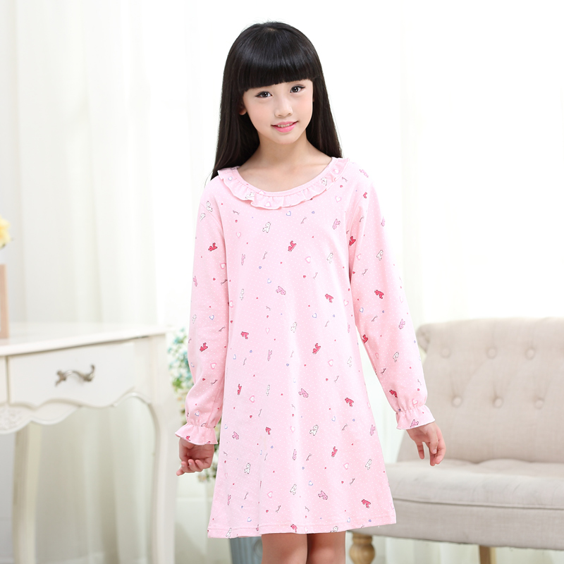 e2d44a07673a Get Quotations · Children s sleepwear girls nightgown princess big virgin  girls in spring and autumn long sleeve cotton tracksuit