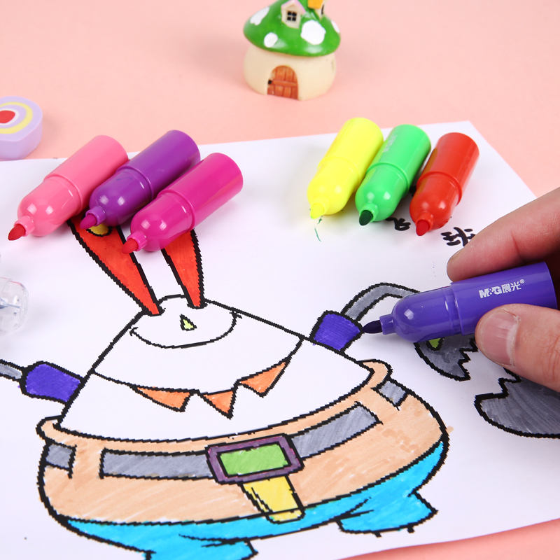 Children's watercolor pen large capacity dawn barreled 35/55 color cartoon cute mini art color painting pen pen