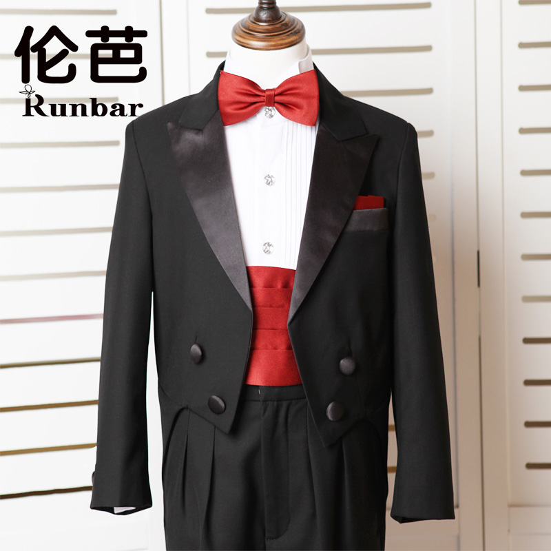 伦芭childrenwear boys tuxedo dress flower girl dresses suits boy suit boy suit boy children dress