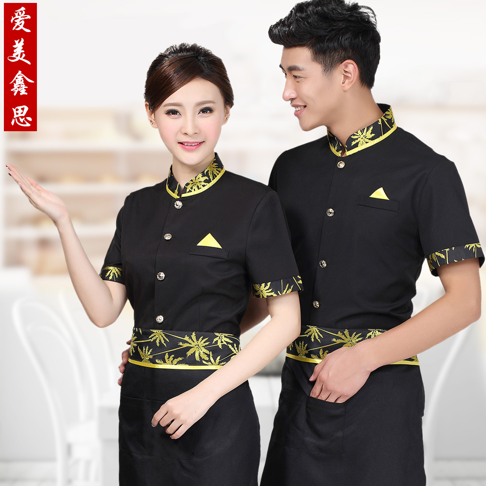 Chinese and western restaurants restaurant sleeved overalls hotel restaurant waiter uniforms summer restaurant arborist overalls uniforms