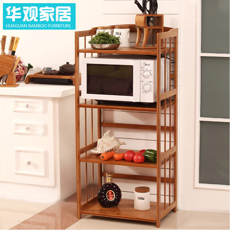 Chinese concept of bamboo floor bathroom wall shelf microwave oven rack shelving racks 2 layer 3 layer broasted FW6NcQec box wood frame