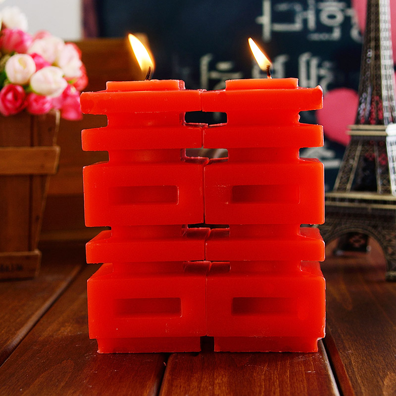 Chinese creative wedding wedding supplies wedding marriage room layout hi word red double happiness smokeless candle wedding candle