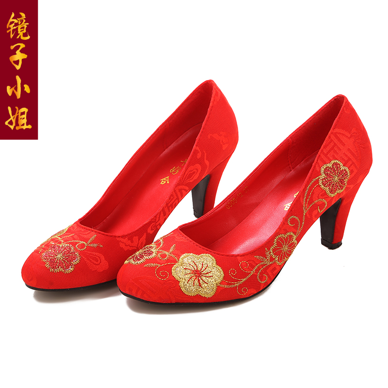 Chinese dragon embroidered shoes wedding shoes bridal wedding toast cheongsam dress costume xiu red high heels shoes shoes