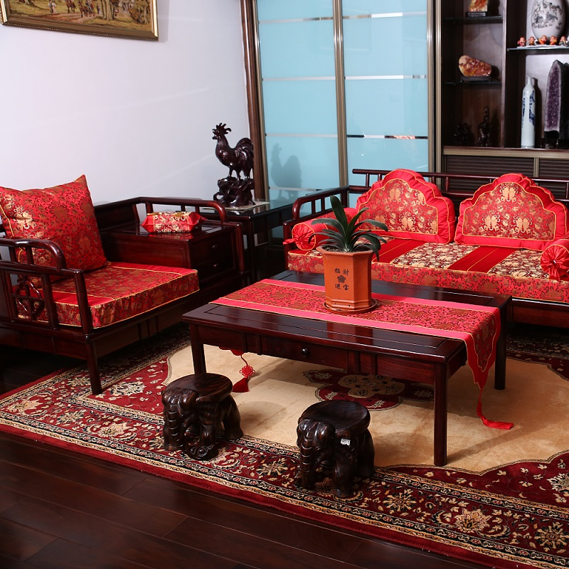 Get Quotations Chinese Red Pisces Festive Thick Seat Cushion Fabric Mulberry Silk Custom Antique Mahogany Wood Sofa